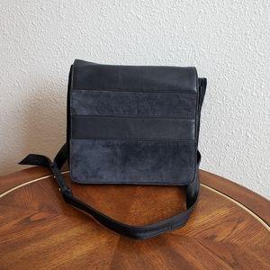 Messenger suede leather navy handbag